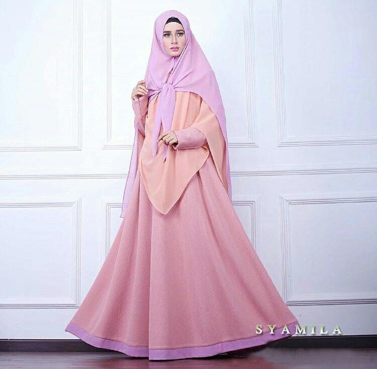 Model Baju Gamis Syari Setelan Hijab Modern Modis Terbaru
