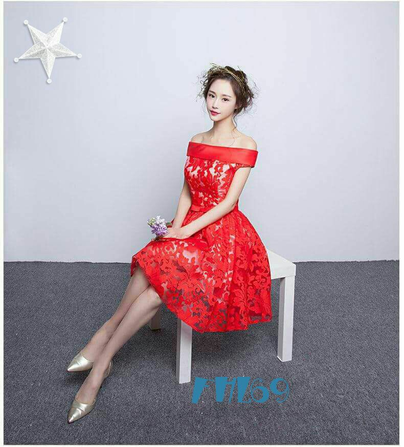 Model Baju Mini Dress Brukat Merah Simple Cantik dan Murah