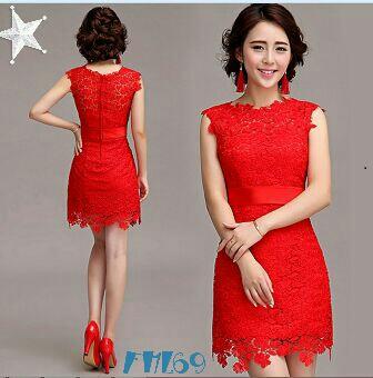 Model Baju Mini Dress Pendek Wanita Dewasa Warna Merah Cantik