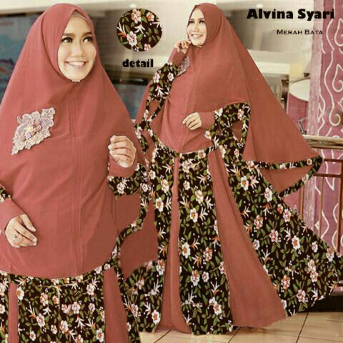 Model Baju Setelan Gamis Syari Modern Terbaru Motif Bunga  RYN