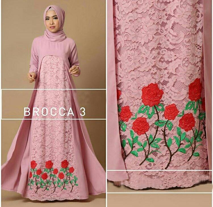 Model Gamis Brukat Bordir Cantik Terbaru Setelan Hijab Modis