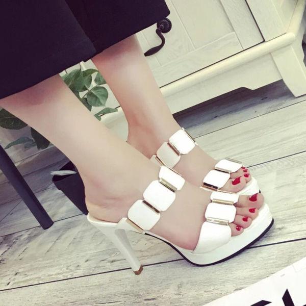 Sandal Wanita High Heels Warna Putih Cantik Model Terbaru