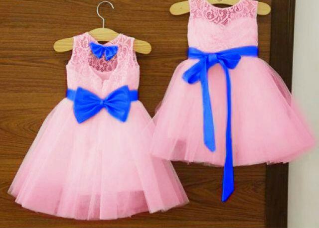 Baju Dress Brukat Anak Perempuan Warna Pink Cantik Lucu Modern