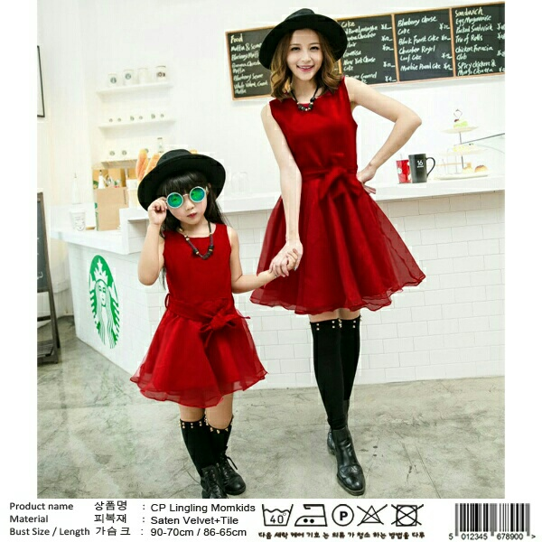 Baju Dress Couple Mama Anak Warna Merah Model Terbaru