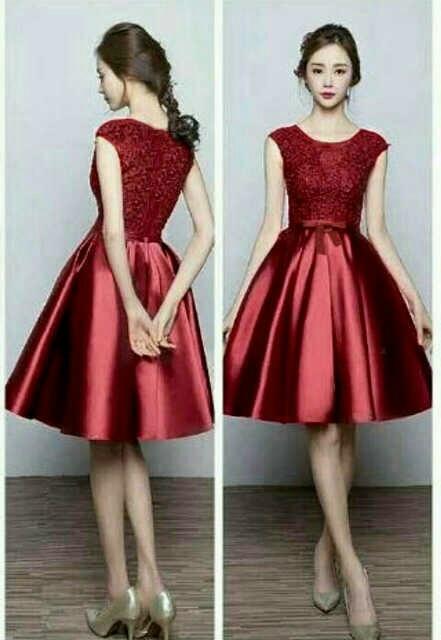 Baju Dress Pendek Cantik dan Murah Bahan Brukat Satin