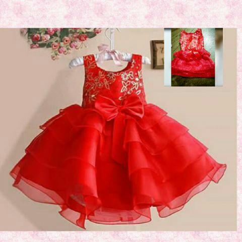 Baju Dress Pesta Anak Warna Merah Cantik Lucu Model Terbaru