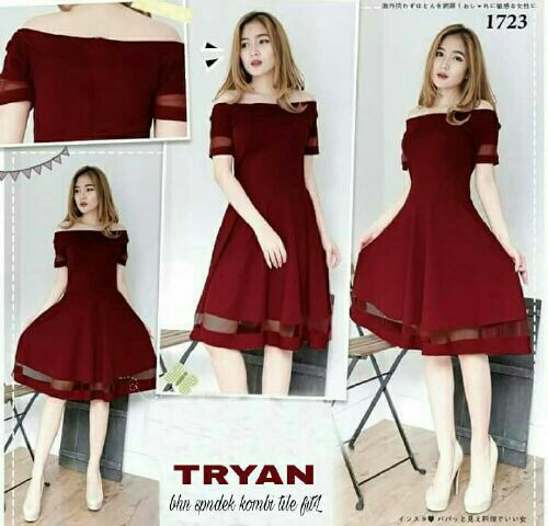 Baju Dress Sabrina Pendek Warna Merah Maroon Model Terbaru