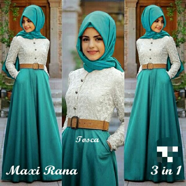 Baju Gamis Brukat Setelan Hijab Modis Modern Model Terbaru