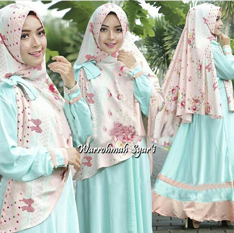 Baju Gamis Syari Busui Setelan Hijab Jilbab Bergo Modis Modern