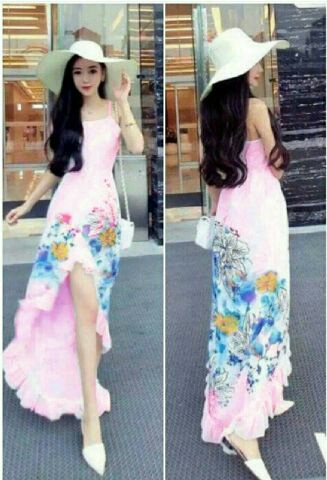 Baju Gaun Long Dress Bunga-bunga Cantik Model Terbaru