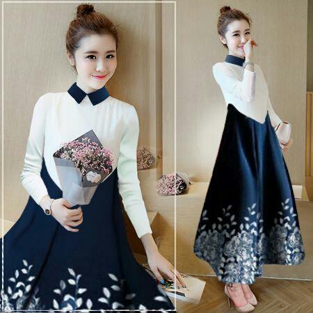 Baju Gaun Long Dress Cantik dan Murah Modis Model Terbaru