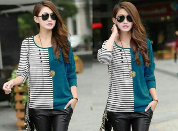 Baju Kaos Oblong Lengan Panjang Wanita Warna Kombinasi Modern