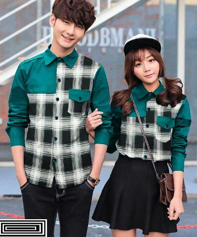 Baju Kemeja Couple Kotak Kombinasi Lengan Panjang Terbaru