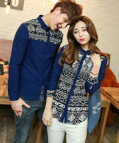 Baju Kemeja Couple Lengan Panjang Motif Keren Model Terbaru