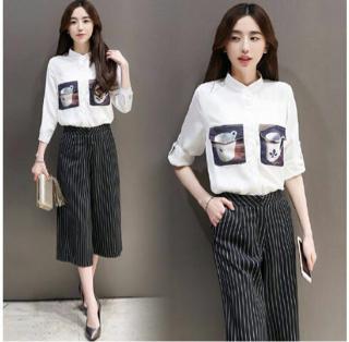 Baju Kemeja Setelan Celana Kulot Wanita Dewasa Model Terbaru
