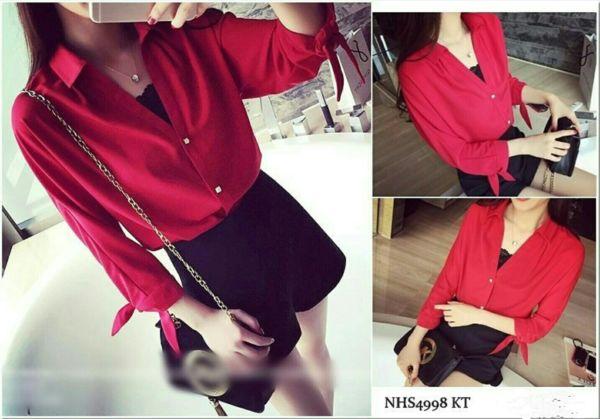 Baju Kemeja Wanita Hem Merah Polos Lengan Panjang Terbaru
