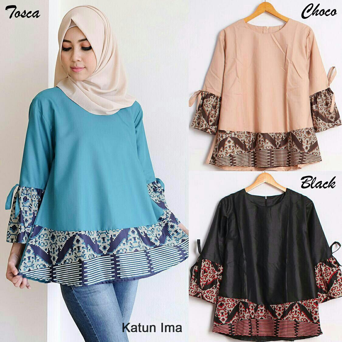 Baju Batik Kombinasi Batik: Baju Lengan Panjang Kombinasi Batik Untuk Wanita Berjilbab