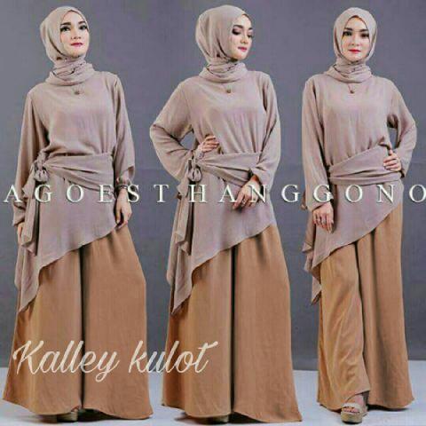 Baju Setelan Hijab Celana Kulot Modis Model Terbaru & Murah
