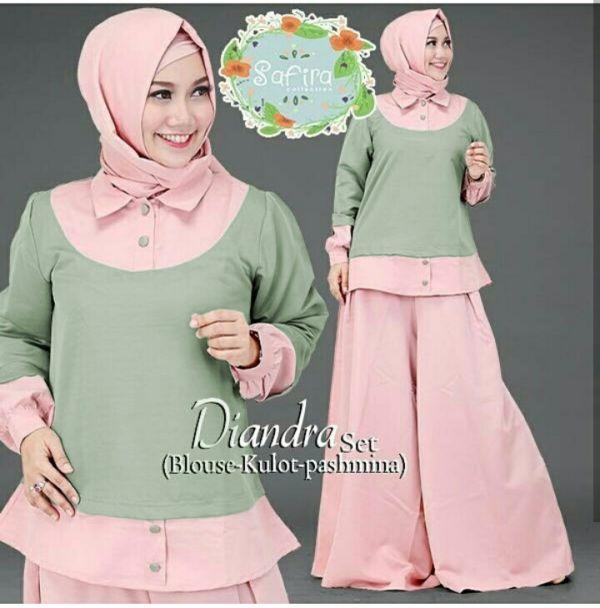 Baju Setelan Hijab Celana Kulot Modis Modern Model Terbaru