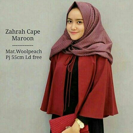 Cardigan Cape Wanita Model Terbaru Warna Merah Maroon
