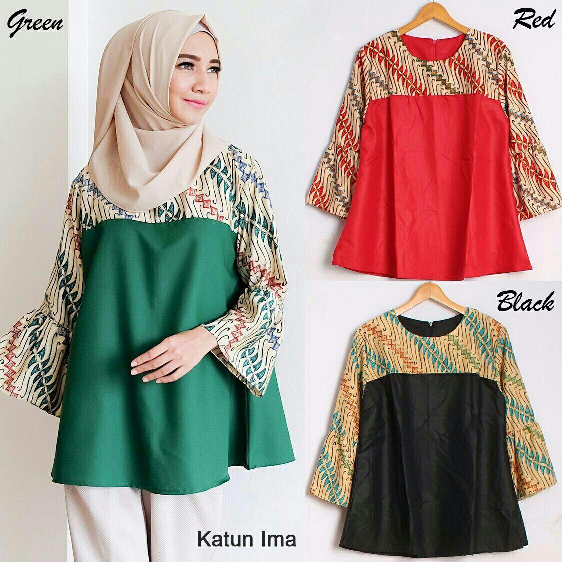 Model Baju Batik Kerja Atasan Muslim: Model Baju Atasan Wanita Lengan Panjang Terbaru Kombinasi