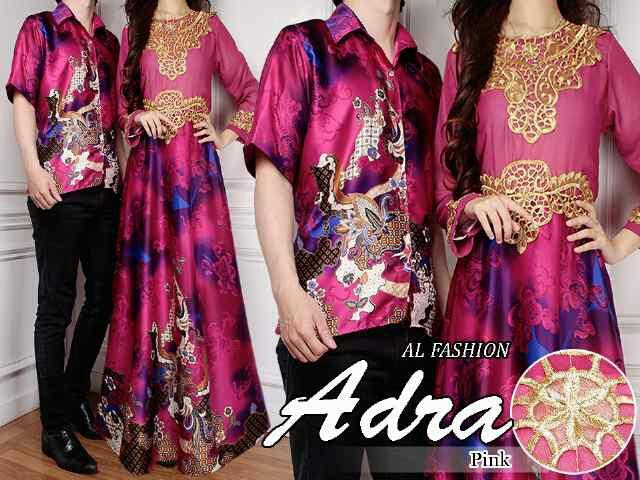 Model Baju Batik Couple Motif Modern Long Dress Terbaru