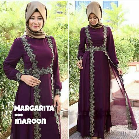 Model Baju Gamis Long Dress Muslim Cantik Modern Terbaru
