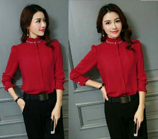 Model Baju Hem Wanita Warna Merah dan Hitam Polos Terbaru