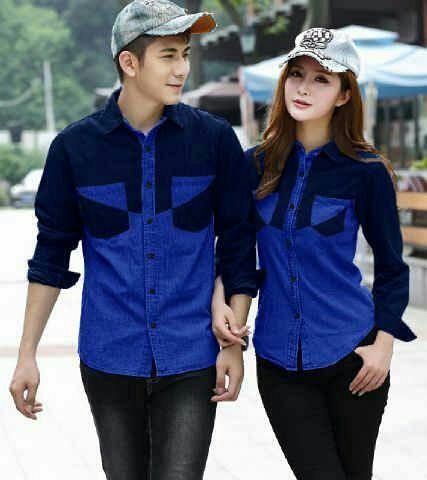 Model Baju Kemeja Couple Lengan Panjang Warna Kombinasi
