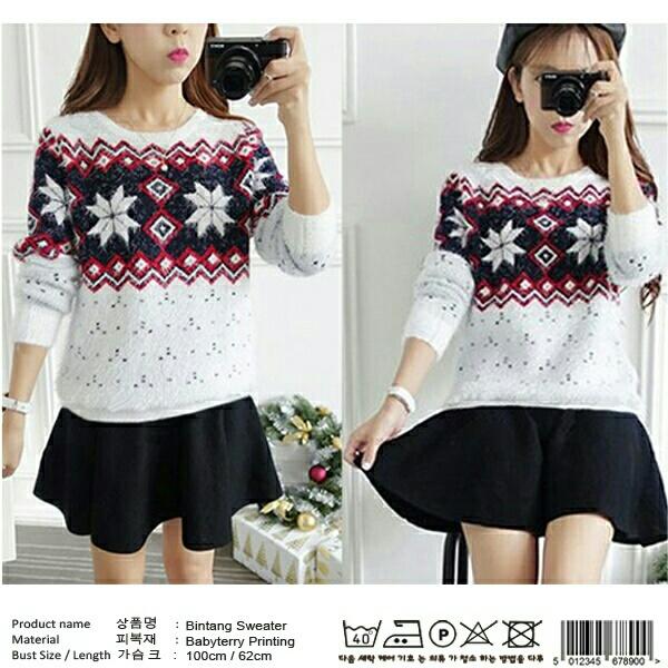 Model Sweater Wanita Terbaru Warna Putih Lucu Modern