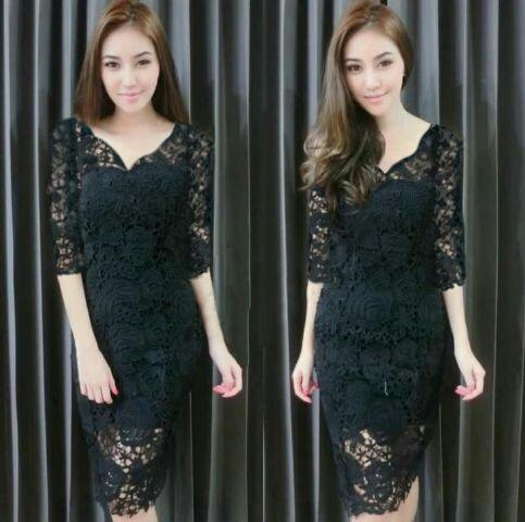 Model Terbaru Baju Dress Pendek Brukat Hitam Cantik dan Murah