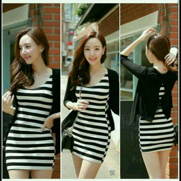 Setelan Baju Dress Pendek Belang & Cardigan Cantik Model Terbaru