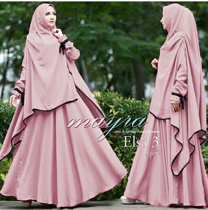 Setelan Baju Gamis Syari Jilbab Bergo Khimar Polos Modern Terbaru