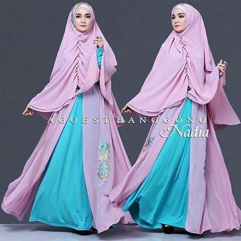 Setelan Baju Gamis Syari Muslimah Wanita Modern Model Terbaru