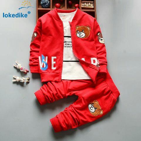 Setelan Baju Jaket Celana Panjang Anak Laki-laki Warna Merah