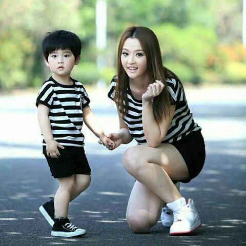 Setelan Baju Kaos Belang Ibu dan Anak Laki-laki Model Terbaru