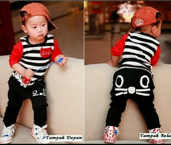 Setelan Baju Kaos dan Celana Panjang Anak Laki-laki Model Terbaru