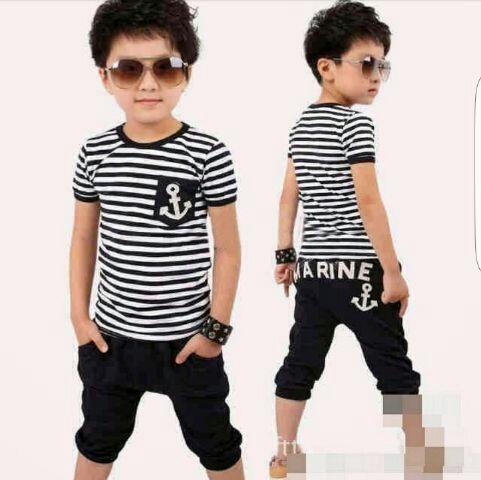 Setelan Baju dan Celana Anak Laki-laki Motif Salur Belang Modern