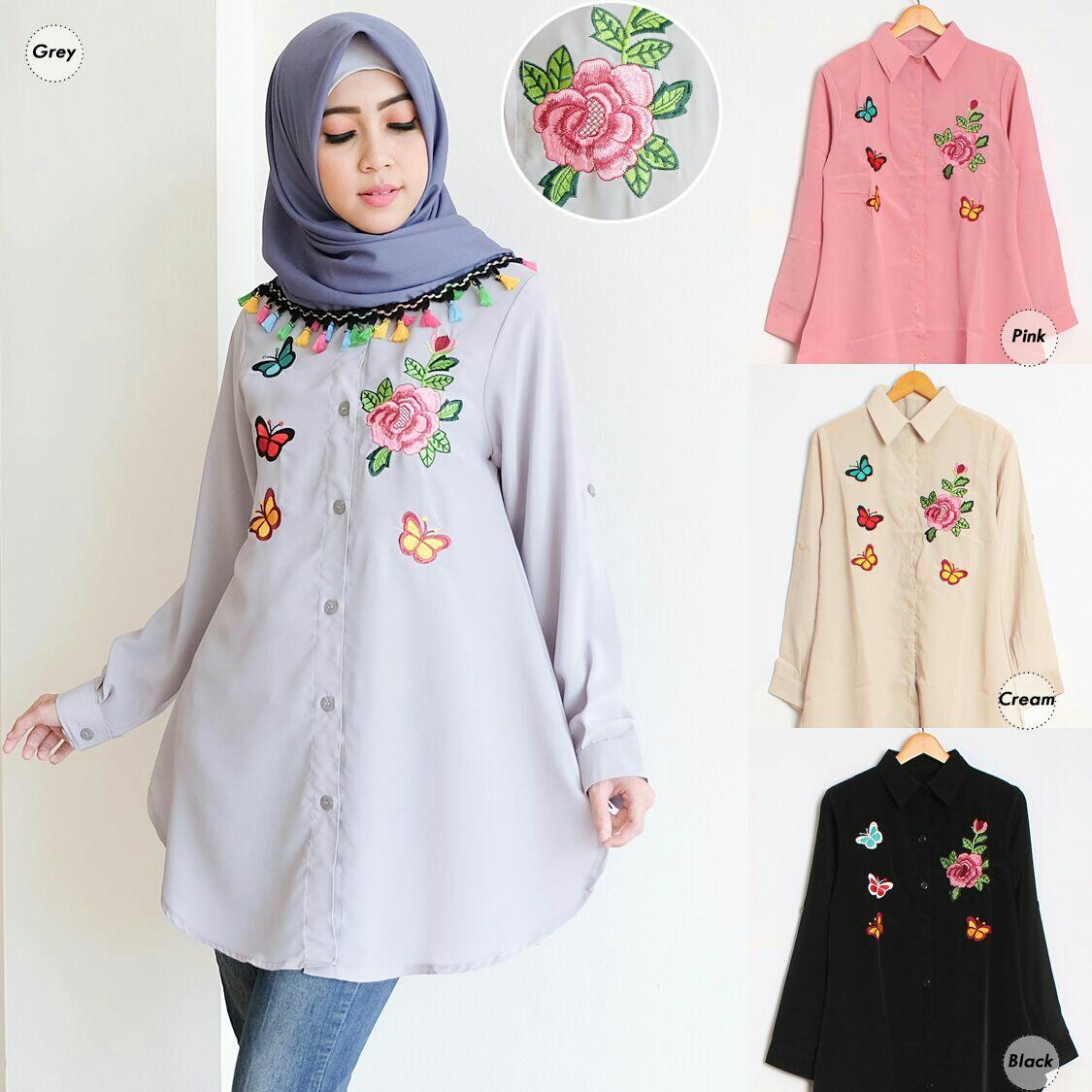 Baju Atasan Tunik Fashion Hijab Lengan Panjang Cantik Model Terbaru