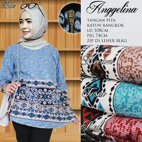 Baju Blouse Atasan Fashion Hijab Wanita Lengan Panjang Modis