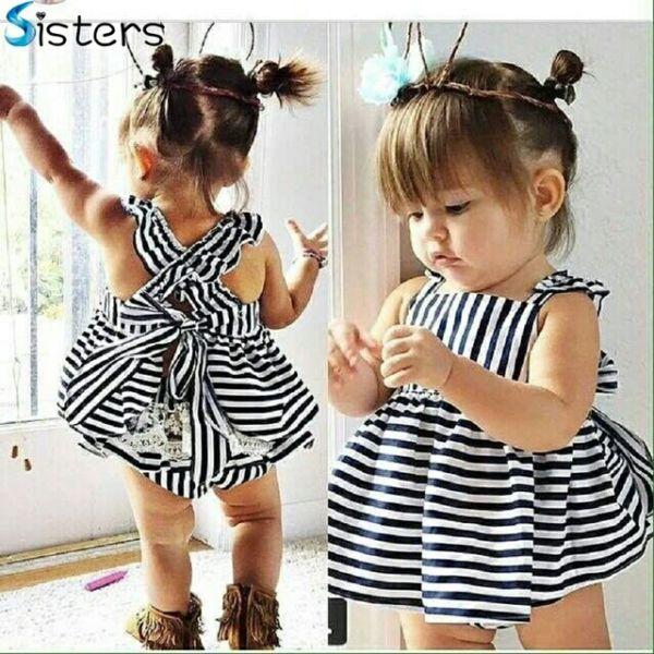 Baju Dress Anak Perempuan Motif Belang Cantik Lucu dan Murah