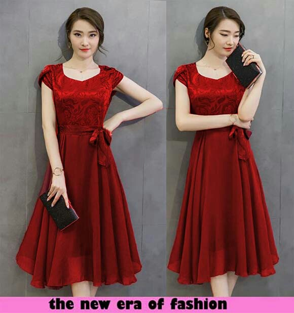 Baju Dress Pendek Warna Merah Sederhana Simple Model Terbaru