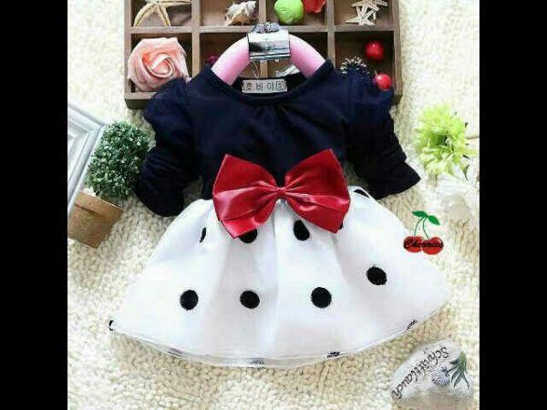 Baju Dress Pesta Anak Perempuan Motif Polkadot Cantik dan Lucu