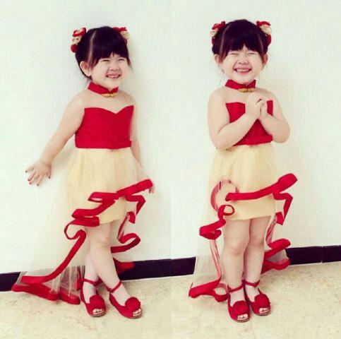 Baju Dress Pesta Mermaid Merah Anak Perempuan Desain Chinese