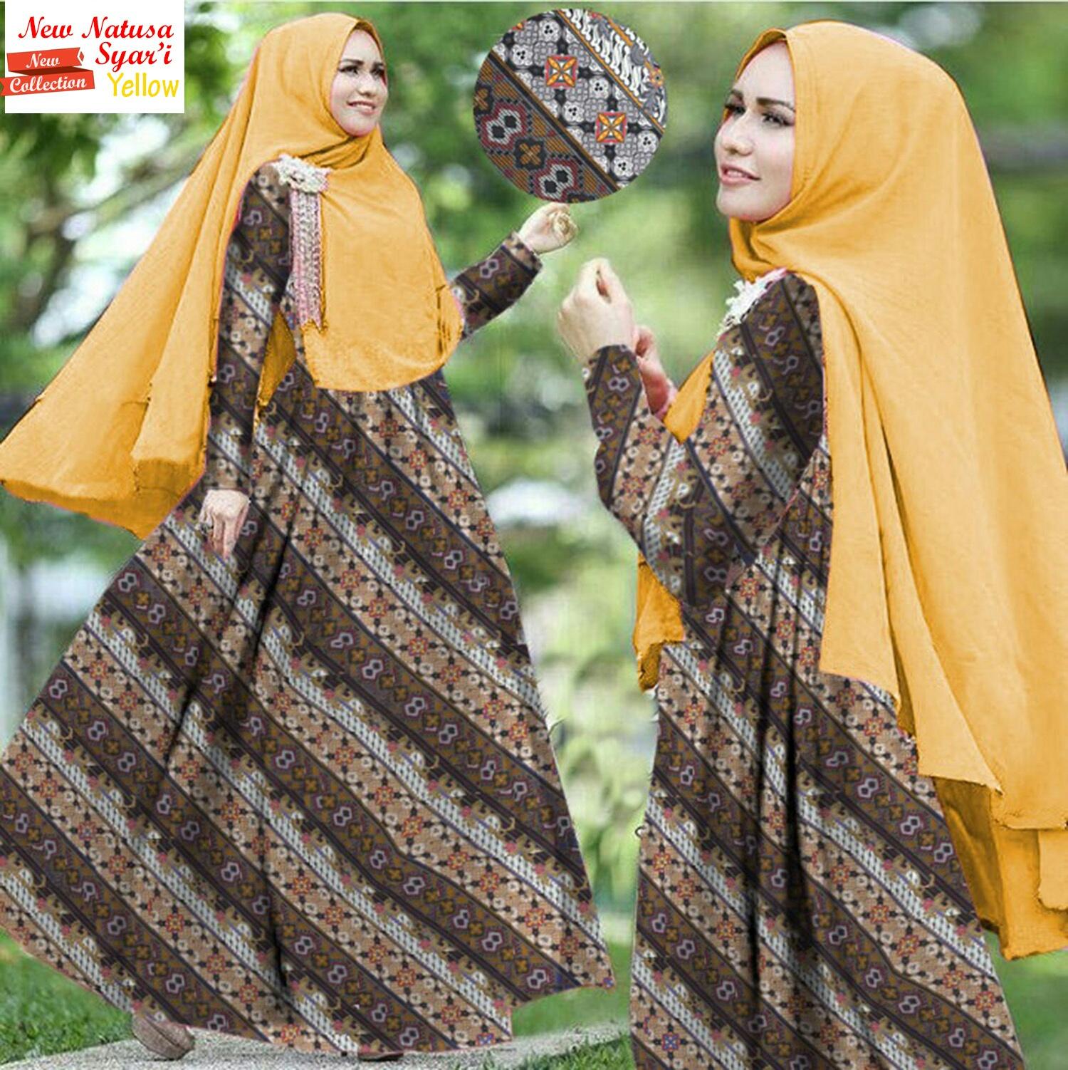 Baju Gamis Syari Motif Bunga Setelan Hijab Jilbab Bergo Modern