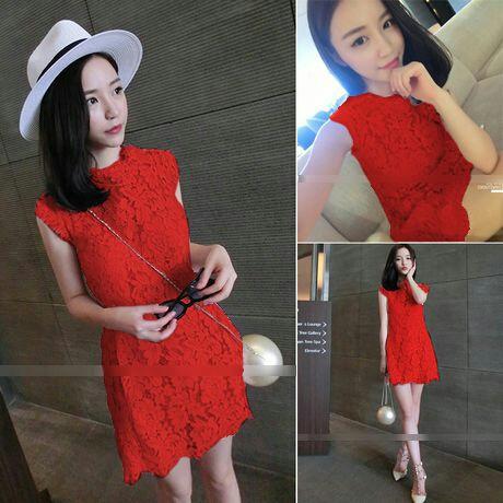 Baju Mini Dress Brukat Warna Merah Cantik dan Murah Model Terbaru
