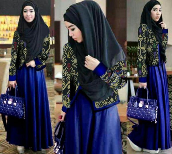 Baju Setelan Gamis & Cardigan Motif Batik Modis Model Terbaru