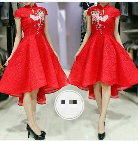 Model Baju Dress Pendek Warna Merah Wanita Dewasa Terbaru