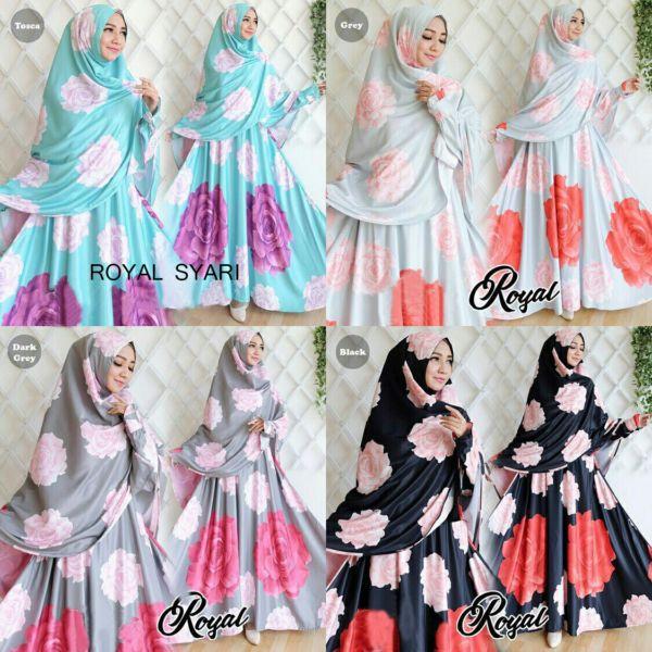Model Baju Gamis Syari Muslimah Motif Bunga Mewah Modern Terbaru