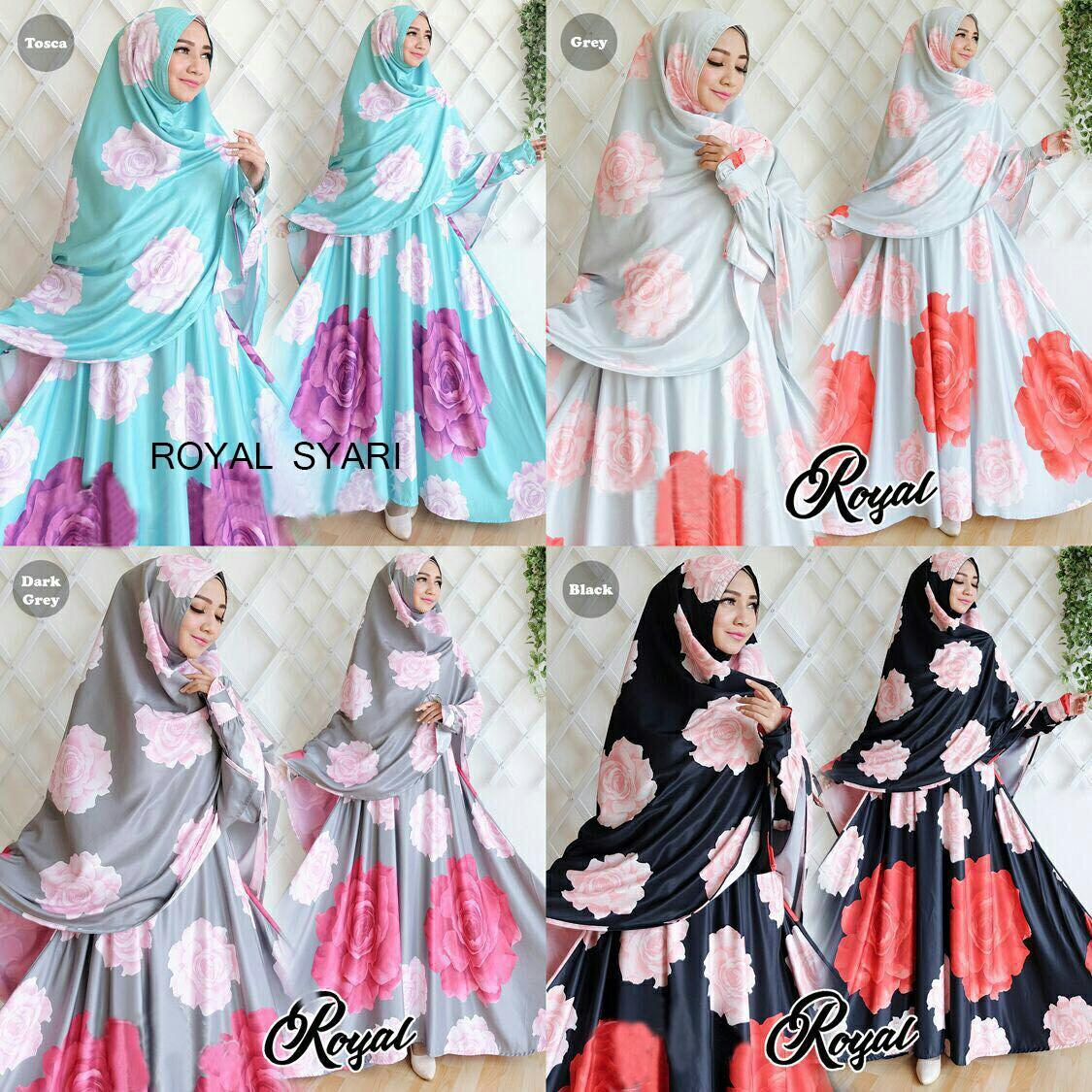 Model Baju Gamis Syari Muslimah Motif Bunga Mewah Modern